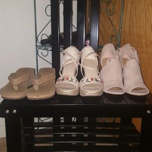 3 pairs of shoes  -cork flip flop-rope wedge
